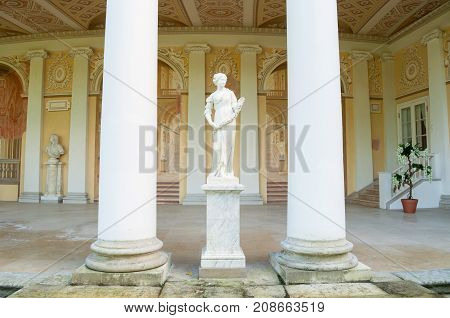 PAVLOVSK RUSSIA - SEPTEMBER 21 2017. Allegorical sculpture of Spring in Gonzaga Gallery building architectural and fresco ensemble in the Pavlovsk Palace in Pavlovsk St Petersburg Russia