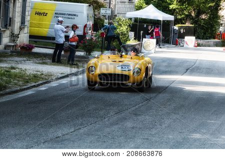 GOLA DEL FURLO, ITALY - MAY 19: FERRARI 500 TR SPIDER SCAGLIETTI 1956 on an old racing car in rally Mille Miglia 2017 the famous italian historical race (1927-1957) on May 19 2017