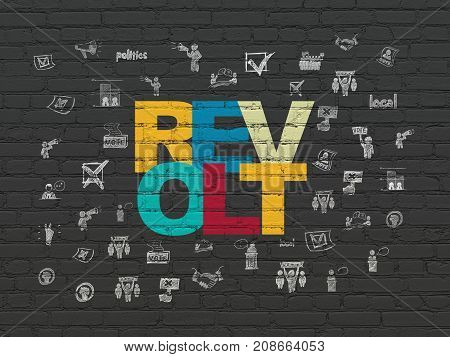 Political concept: Painted multicolor text Revolt on Black Brick wall background with  Hand Drawn Politics Icons