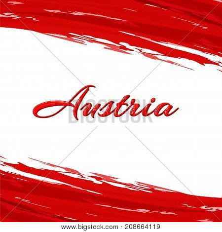 Inscription Austria On The Background Of The National Flag Of Austria Vector