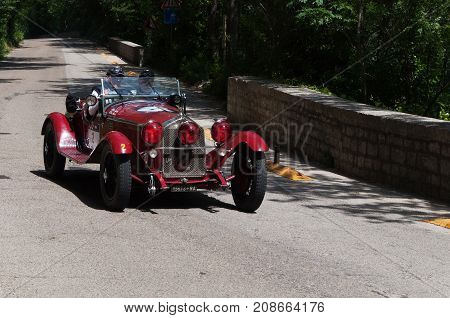 GOLA DEL FURLO, ITALY - ALFA ROMEO 6C 1750 GS ZAGATO 1930 on an old racing car in rally Mille Miglia 2017 the famous italian historical race (1927-1957) on May 19 2017