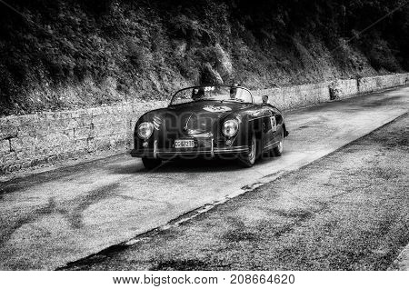 GOLA DEL FURLO, ITALY - MAY 19: PORSCHE 356 1500 SPEEDSTER 1954 1 on an old racing car in rally Mille Miglia 2017 the famous italian historical race (1927-1957) on May 19 2017
