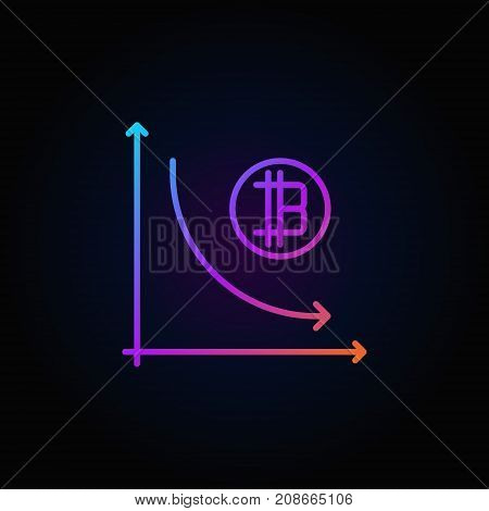 Cryptocurrency decline graph colorful icon - vector virtual money recession concept outline sign on dark background