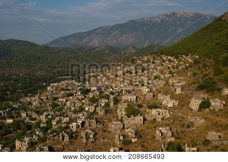 View of abandoned houses at village Kayakoy near FethiyeTurkey selective focus.
