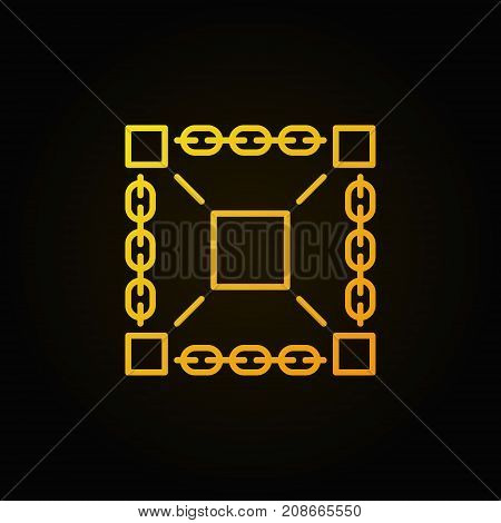 Blockchain technology vector yellow line icon or symbol on dark background