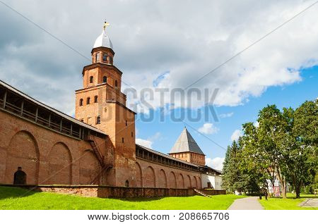 VELIKY NOVGOROD RUSSIA - AUGUST 12 2016. Kokui Tower and Intercession Tower of Veliky Novgorod Kremlin in Veliky Novgorod Russia