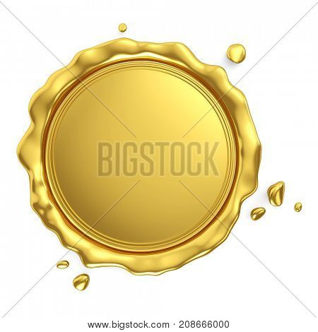 Golden royal blank wax seal isolated on white background. 3d rendering.