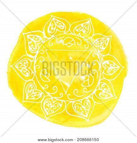 Manipura chakra on bright yellow watercolor stain