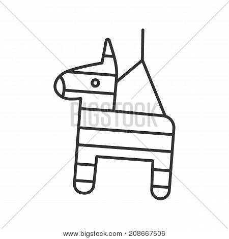 Pinata linear icon. Donkey toy. Thin line illustration. Contour symbol. Vector isolated outline drawing
