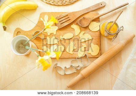 Healthy Baking, Cutting Out Cookies From Raw Dough, Homemade Cookies Background.