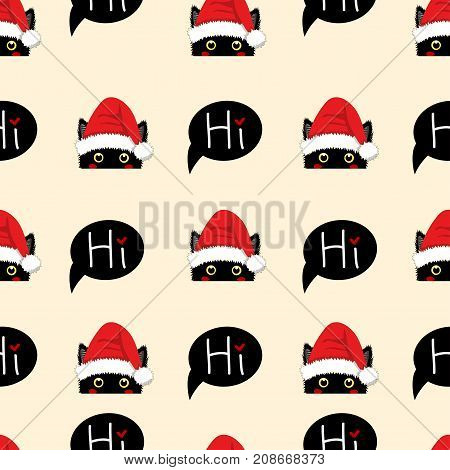 Black Cat Sneaking Christmas Day on Beige Ivory Background