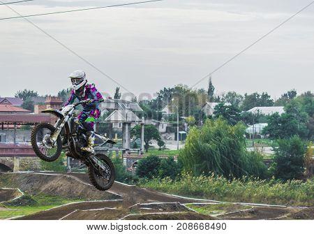 Extreme Sport Motocross. Dangerous Jumping