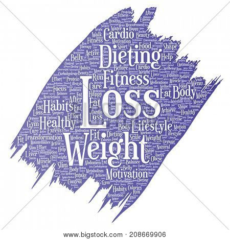 Conceptual weight loss healthy diet transformation paint brush word cloud isolated background. Collage of fitness motivation lifestyle, before and after workout slim body beauty concept