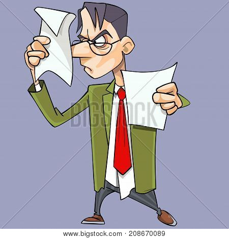 Cartoon angry man in suit with tie strictly looking at papers