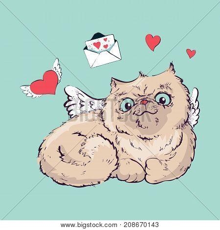 Angel cat vector illustration graphics. Hand draw.