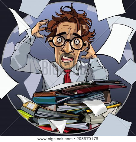 cartoon man is hysterical with folders of papers