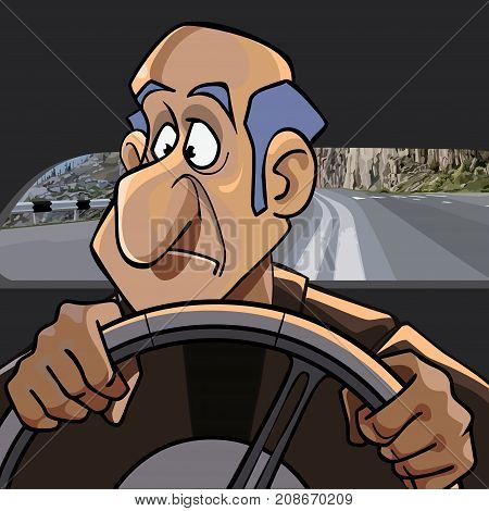 cartoon surprised man riding in the car while driving