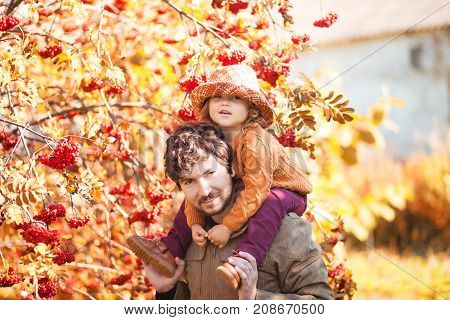 Father and his little daughter walking together at the park or forest fall day. single parent. rowan at the background.