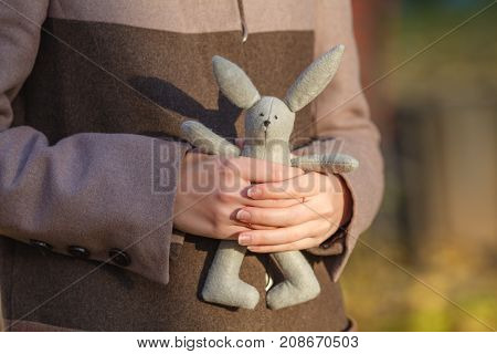 Young Woman Holding A Toy Rabbit, Emotional Loneliness , Heartbroken