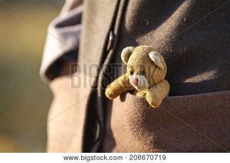 Closeup of girl with teddy bear in pocket