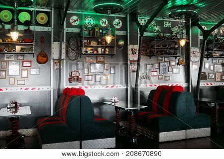 KAMENSK-SHAKHTINSKY, RUSSIA - JUN 20, 2017: Cafe in Legends of USSR hotel