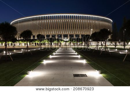 KRASNODAR, RUSSIA - JUN 21, 2017: Territory of football stadium Krasnodar at night, stadium was opened on October 9, 2016