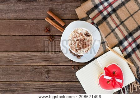 Cozy Rest. Mug Latte, Gingerbread-heart, Plaid Plaid And Coffee Beans. Top View