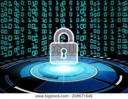 Cyber Security Data Protection Business Technology Privacy concept key lock and circle digital technology background abstract technology concept background vector illustration.