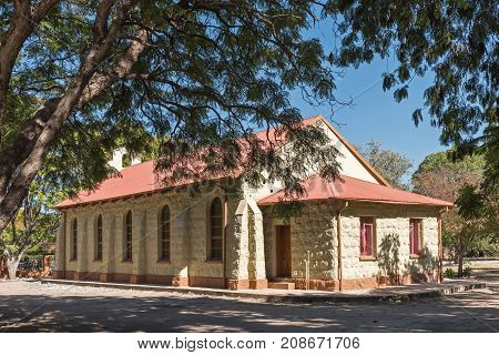 GROOTFONTEIN NAMIBIA - JUNE 20 2017: Old church and now the hall of the Dutch Reformed Church in Grootfontein in the Otjozondjupa Region of Namibia
