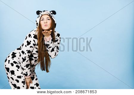 Woman Wearing Pajamas Cartoon Blowing Kiss