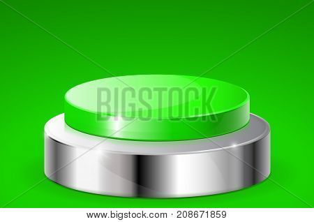 Green push button with metal base. On green background. Vector illustration
