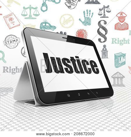 Law concept: Tablet Computer with  black text Justice on display,  Hand Drawn Law Icons background, 3D rendering