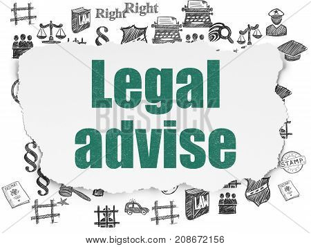 Law concept: Painted green text Legal Advise on Torn Paper background with  Hand Drawn Law Icons