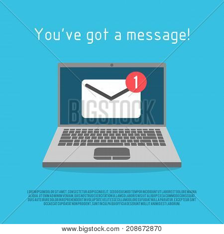 Laptop with envelope mail notice. Vector illustration. Symbol of email receiving.