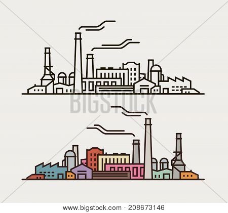 Industry concept. Industrial factory, building icon or symbol. Vector illustration