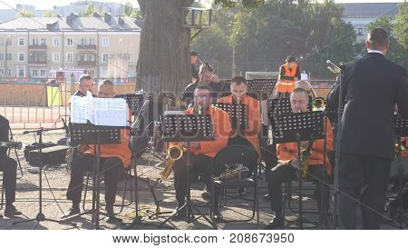 Kursk, Russia - Sep 20, 2017: The Orchestra Plays A Piece Of Music Before A Football Match