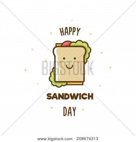 Happy Sandwich Day. Vector illustration of sandwich.