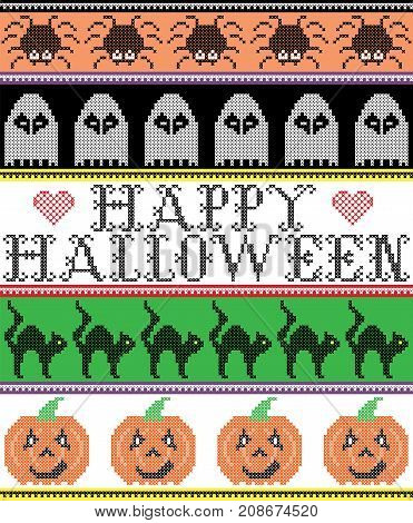 Scandinavian cross stitch and traditional American holiday inspired seamless Happy Halloween pattern with cat, spider, ghost, heart, pumpkin, decor ornaments in purple, orange, black, yellow, green
