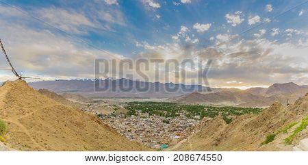 Panorama photo of beautiful Leh city from high mountain viewpoit leh ladakh india