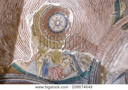 Ancient Mosaic In The Church Of The Holy Saviour In Chora In Istanbul, Turkey.
