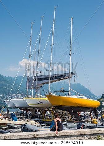 Como Italy - May 27 2016: Yachts ashore of Como Lake in a boatyard in the Como City Italy.