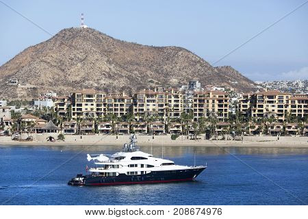 The view of Cabo San Lucas popular resort town in Mexican Riviera.