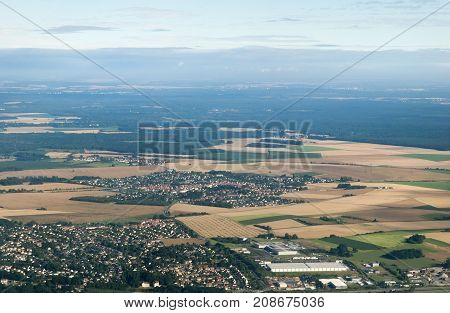 The aerial view of small towns and rural landscapes of Czechia.