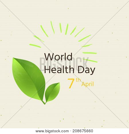 World Health Day Concept With Green Leaf And Sun . Advertisement