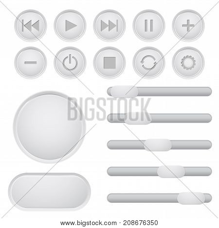 User interface buttons set. Media player main elements, slider bars. Vector illustration isolated on white background