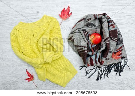 Bright Sweater And Scarf, Red Apple, Autumn Leaves. Fashionable Concept