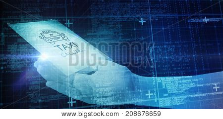Cropped hand of woman offering against blue matrix and codes