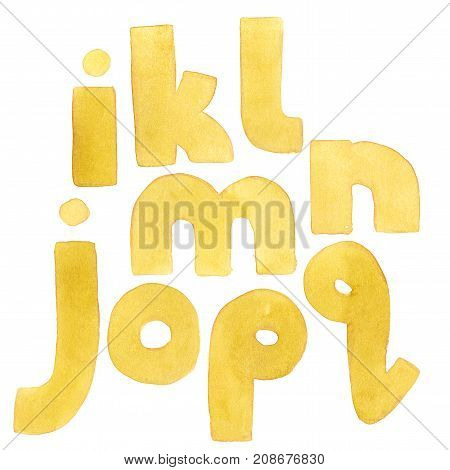Large grainy watercolor bright lowercase letters. Bold alphabet sequence from I to Q. Bright yellow font.