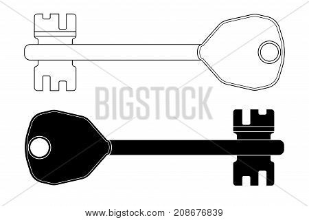 Key. Black and white outline drawing. Vector illustration isolated on white background