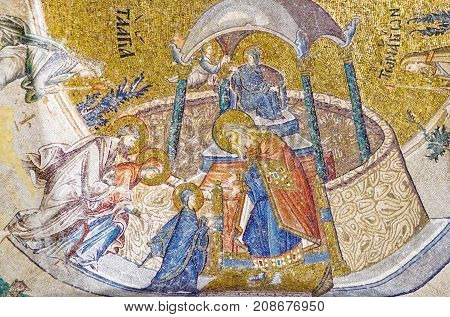 ISTANBUL, TURKEY - OCTOBER 31, 2015: Ancient mosaic in the Church of the Holy Saviour in Chora